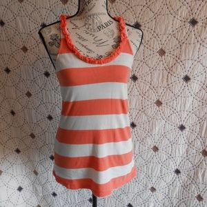 3/$10 GUC Old Navy Coral/White Ruffled Tank Top S